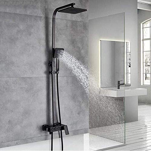 UYKIKUI Black Bronze Rainfall Shower Mixer Faucet in Wall Bath Shower Set Single Handle with Handshower 360 Rotate Tub Spout