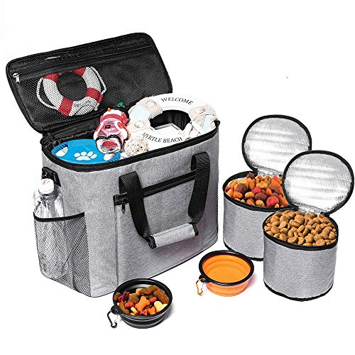 cherrboll Dog Travel Bag - Airline Approved Tote for Pet Accessories - Traveling Organizer for Weekend Camping & Beach - 2 Lined Food Carriers, 2 Collapsible Bowls Included (Grey)