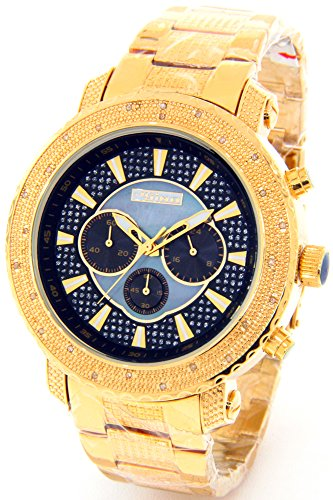 Watch Mens Chronograph Gold Tone Case Metal Band ()