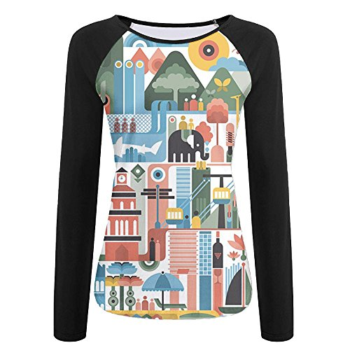 Modern Eden City Ladies Fashion Raglan Tee Shirt Quick Dry Undershirts Long Sleeve Workout Jersey Shirts