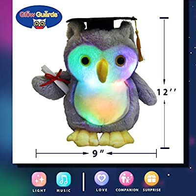 Glow Guards 12'' Light up Graduation Owl Stuffed Animals Soft Plush with Bachelor Cap LED Night Lights Glow Graduate Gifts for Kindergarten Kids College Students: Toys & Games