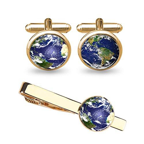 ZUNON Globe World Map Earth Cufflinks Blue Wedding Groom Groomsman Father Grandfather Dad Tie Clip Bar Tack (Earth cufflinks tie clips gold) by ZUNON