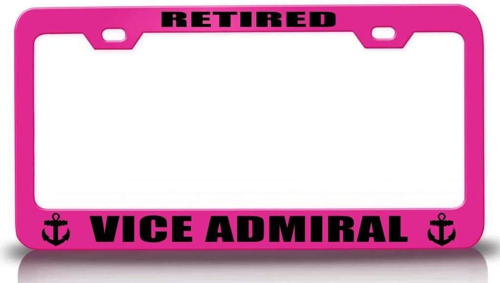 Custom Brother - Retired VICE Admiral Navy Steel Metal License Plate Frame Pn
