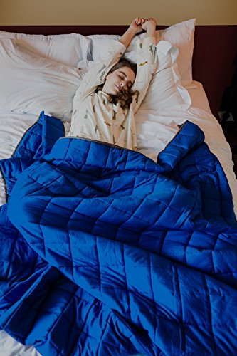 CMFRT Weighted Blanket-|Get Quality Rest|Great for Anxiety, ADHD, Autism and OCD Relief|-(41inches x 56inches-7 lb) (Perfect for 60 lb individual), Blue/Grey,7 (Blue 60lb Text)