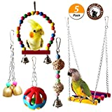 Mrli Pet Parrot Cage Toys Bird Chew Toys Macaw African Greys Cockatoo Budgies Parakeet Cockatiel Lovebirds Intelligence Training Birdcage Accessorie (Bird Swing Ladder Toys)