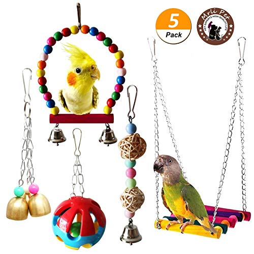 Mrli Pet Parrot Cage Toys Bird Chew Toys for Macaw African Greys Cockatoo Budgies Parakeet Cockatiel Lovebirds Intelligence Training Birdcage Accessorie (Bird Swing Ladder Toys) ()