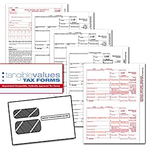 Tangible Values 1099 Misc Laser Forms (4-Part) Kit with Env for 25 Vendors + 3 Form 1096's (2017)