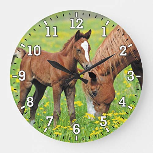 Moonluna Horse Foal Nursery Wooden Wall Clock Battery Operated Roman Numerals Silent Non-Ticking 16 Inches Kids Clock ()