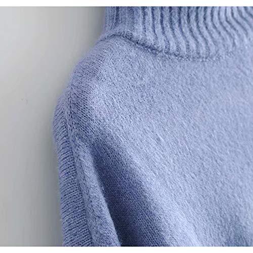 haut femmes irrgulier Blue S style Chandail col nouveau Size de dcontract Color automne chandail Blue ZwXwqURI