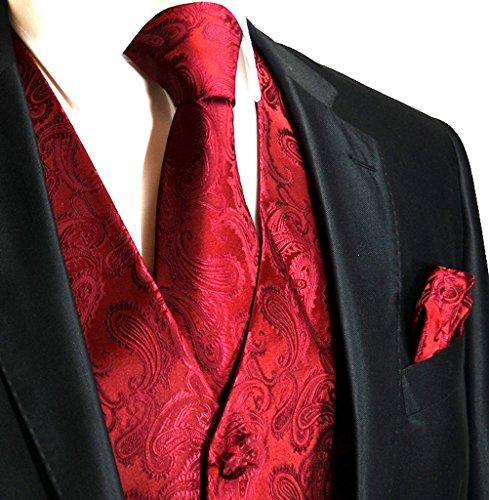 (Men's 3pc Paisley Design Dress Vest Tie Handkerchief Set For Suit or Tuxedo (4XL (Chest 56),)