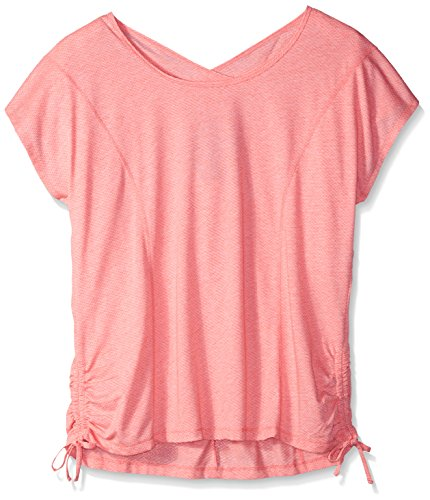 Fit for Me by Fruit of the Loom Women's Plus Size Crossback All-Over Mesh Drawstring Top, Neon Coral, 4X (Tank Poly String)