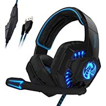 Noswer I8S Gaming Headset 3.5mm Stero Wired Over - Ear Headphone Headband LED Lighting with Noise Isloating & Volume Control for Laptop Game-Blackblue