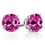 3.32 Ct Round 7.00MM Pink Created Sapphire 925 Sterling Silver Stud Earrings