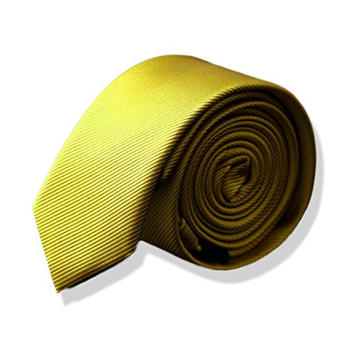 Fashion Men Tie Solid Necktie Yellow Polyester Jacquard Weave Men Tie with Gift Box -