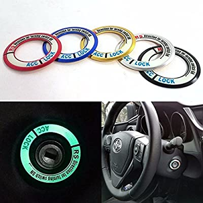 Red Universal Luminous Keyhole Car Ignition Starter Switch Double Tape Cover Decoration Ring: Automotive