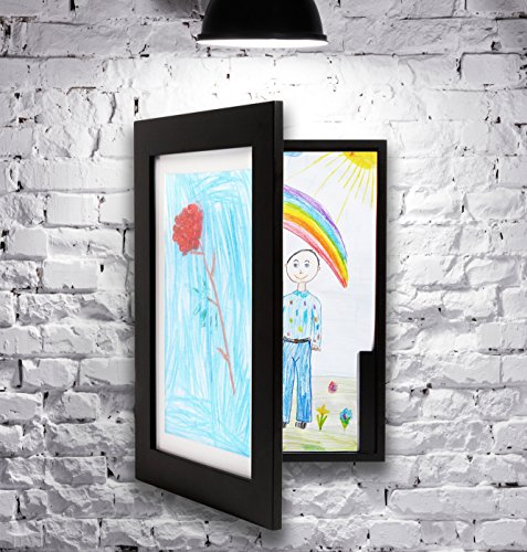Kenley Children's Artwork Frame - Wall Mounted Display Storage Cabinet for Kids Child Art & Drawings - Fits A4 Size 8.3