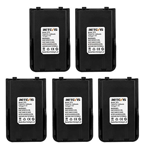 1400mah Rechargeable Li Ion Battery - Retevis RT5 Two Way Radio Battery 1400mAH Replacement Rechargeable Battery for Retevis RT5 Walkie Talkies (5 Pack)