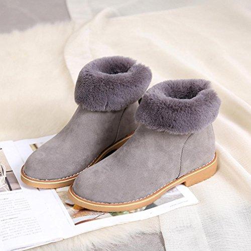 Tenworld Dameslaarzen Mode Enkellaarsjes Winter Faux Bont Gevoerde Sneeuwlaars (7, Zwart) Grijs