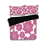 Difference Between Cal King and Eastern King Black Duvet Cover Set Queen Size,Hot Pink,Ethnic Batik Floral Arrangement with Eastern Inspired Art Design Batik Pattern Decorative,Hot Pink White,Decorative 3 Pcs Bedding Set by 2 Pillow Shams