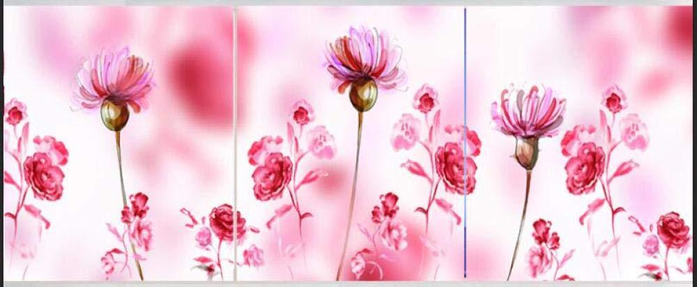 Mosaic Diamond Painting Triptych Pink Daisy Flower 5D DIY Diamond Painting Full Drill Rhinestone Cross Stitch Kits Handmade Embroidery@White_40X40X3_Round_Stone by YANJUNHONG