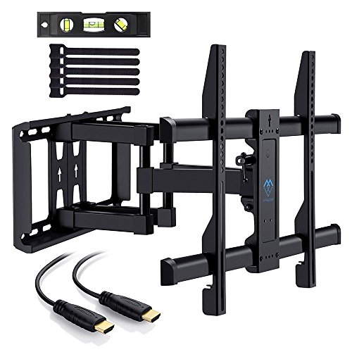 TV Wall Mount Bracket for 37''-70'' TVs - Full Motion with Articulating Arm & Swivel - Holds up to 132 lbs and Extends 16'' - Fits Plasma Flat Screen TV Monitor by PERLESMITH by PERLESMITH
