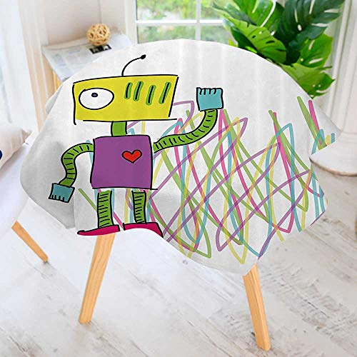 Philiphome 100% Polyester Printed Table Cloth-Robot with Lets Dance Quote Electric Friendly Cyborg Character Kids Doodle Style Ideal for Home, Restaurants, Cafés 67
