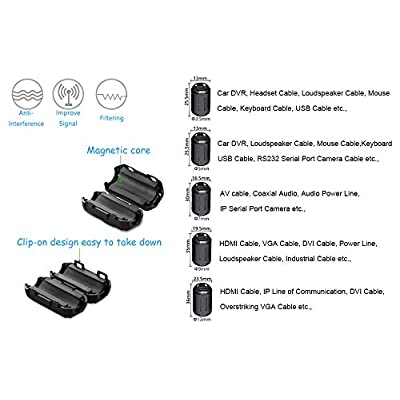 Yarachel 50PCS RFI EMI Noise Suppressor Cable Clip for 3.5mm/ 5mm/ 7mm/ 9mm/ 13mm Diameter Cable: Industrial & Scientific