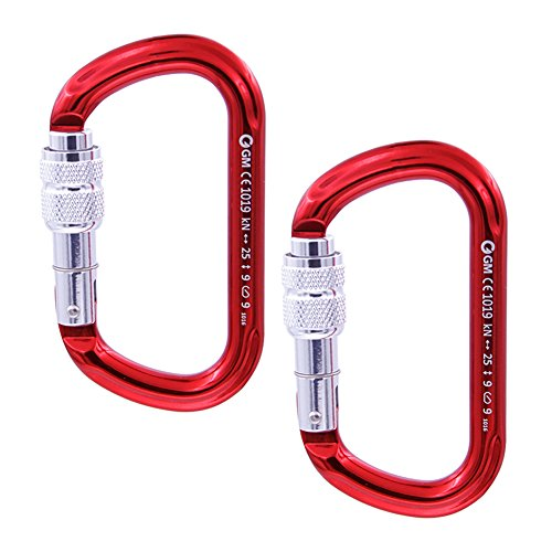 GM CLIMBING Oval Screw Locking Carabiner 25kN Pack of 2