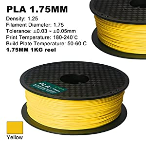 Century 3D PLA-1KG 1.75-YELLOW PLA 3D Printer Filament, Dimensional Accuracy +/- 0.05 mm, 1 kg Spool, 1.75 mm, Yellow from Century Products