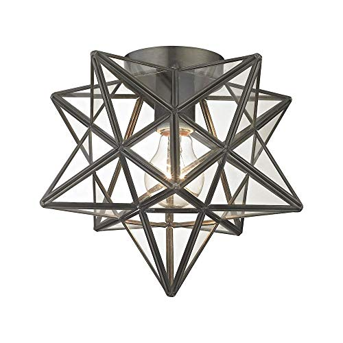 Sterling Moravian Flush Mount Light in Bronze and Clear ()