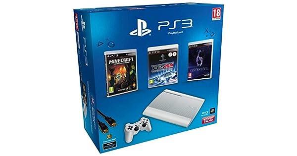 PlayStation 3 - Consola 12 GB, Color Blanco + Minecraft + RE 6 + ...