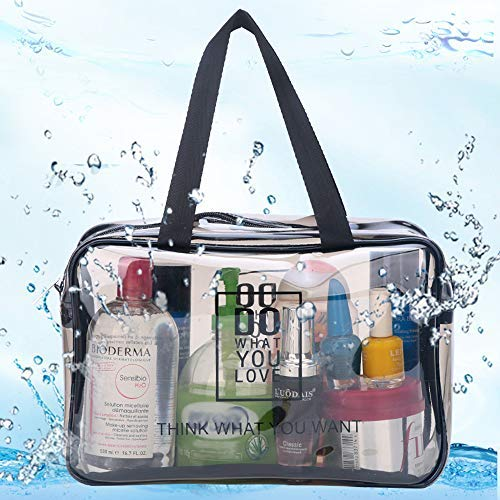 88b317bd9be1 Cosmetic Bag Travel Clear Makeup Bag with Durable Zipper Waterproof TSA  Approved Toiletry Bag for Women Men Portable Carry On Clear Toiletry Bag