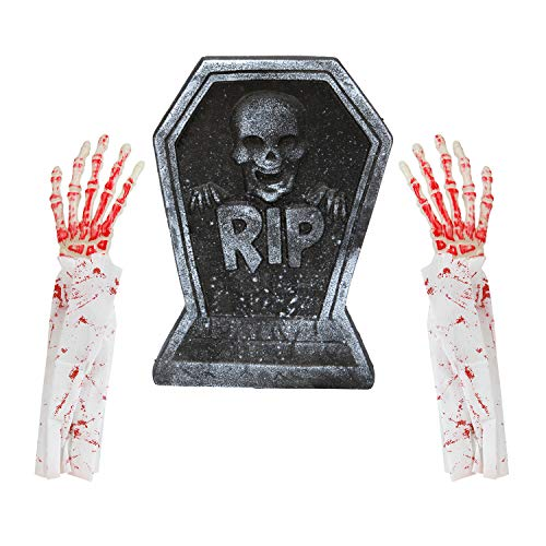 Elcoho Halloween Skeleton Hands Fake Bloody Hand and Foam RIP Graveyard Tombstone Halloween Decorations -