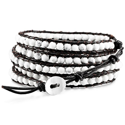MOWOM White Alloy Genuine Leather Bracelet Bangle Cuff Rope Simulated Turquoise Bead 5 Wrap Adjustable