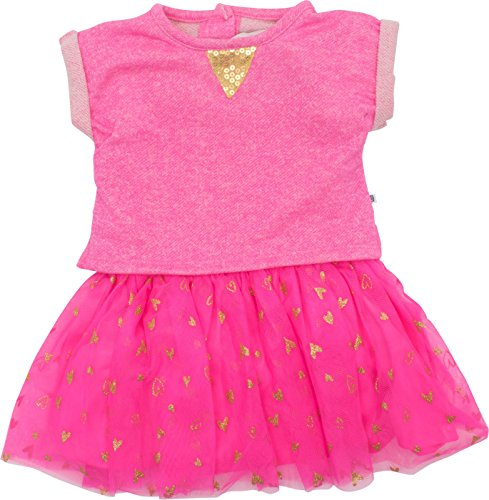 Cherokee Toddler Girls' Pink Dress with Slub Top, Mesh Ruffle Tulle Skirt and Gold Sequins - Girls Cherokee Skirt