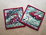 Classic Americana Quilted Potholders, Red White and Blue Set of 2 Insulated Trivets, Hot Pads, Patriotic Potholders, Vintage Pick Up, Dog Days of Summer, Summer Kitchen Linens, Old Truck Gifts