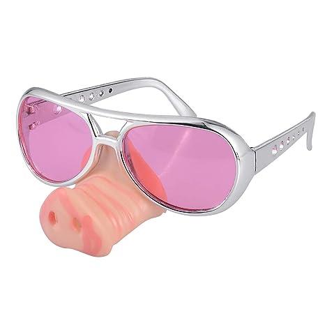 Spaßbrille Polizist Funbrille mit Schweinenase Polizei Party Brille Nasenbrille