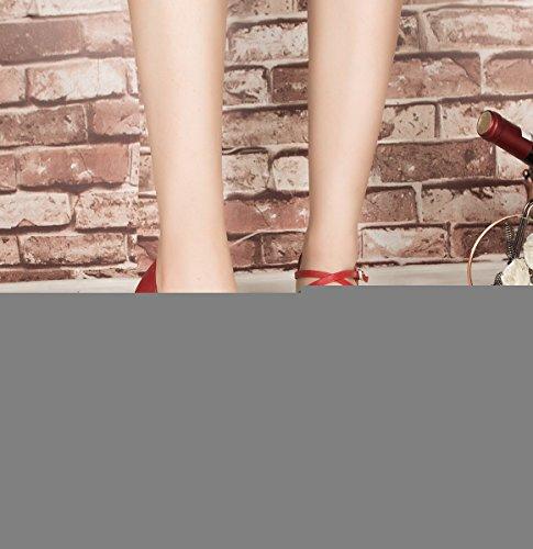 Cross Red UK Leather Ballroom MINITOO Women's Strap 5 Latin Shoes Salsa 6 Dance pHAqx5nwx