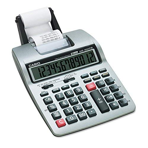 Casio HR-100TM Two-Color Portable Printing Calculator, 12-Digit LCD, Black/Red by Casio