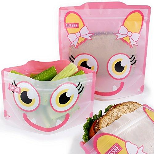 Conjunto de 4 bolsas reutilizables para bocadillos y bocadillos, Pink Monster