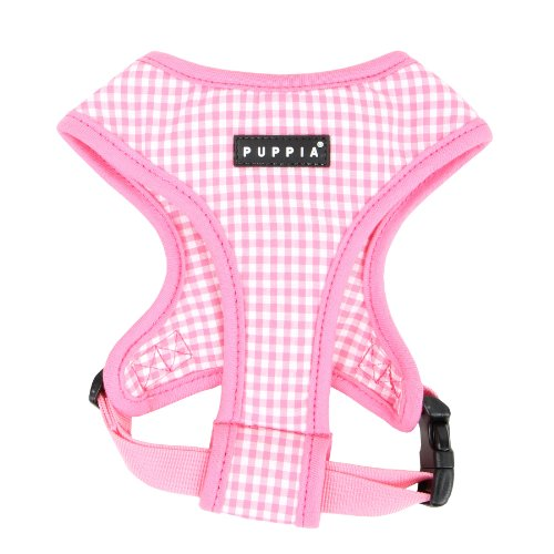 Authentic Puppia Baby Checkered Harness A, Pink, Medium, My Pet Supplies