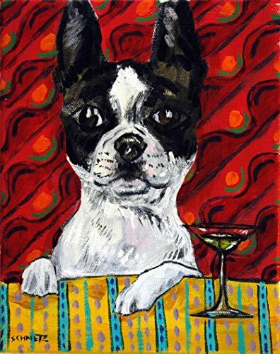 boston terrier at the martini bar decor ANIMAL dog art print - Art Martini Dog