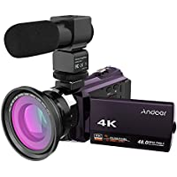 Andoer 4K 1080P 48MP WiFi Digital Video Camera Camcorder Recorder with 0.39X Wide Angle Macro Lens 3inch Capacitive Touchscreen IR Infrared Night Sight 16X Zoom Cold Shoe Support External Microphone