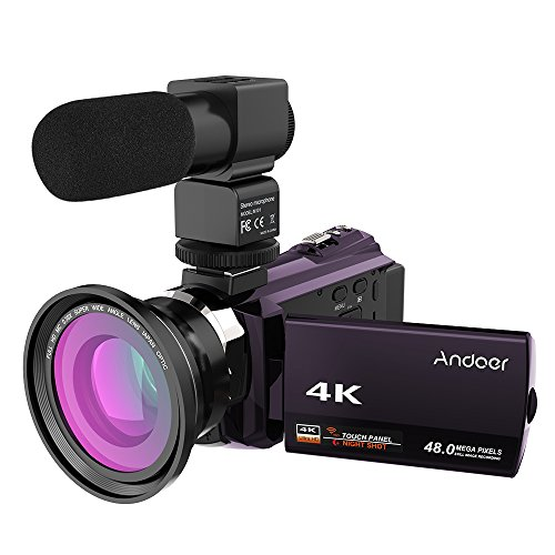 Andoer 4K 1080P 48MP WiFi Digital Video Camera Camcorder Recorder with 0.39X Wide Angle Macro Lens 3inch Capacitive Touchscreen IR Infrared Night Sight 16X Zoom Cold Shoe Support External Microphone by Andoer