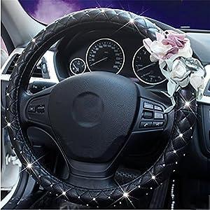 38CM 15 Car Steering Wheel Cover Bling Rhinestone Leather Handcraft For Lady Four Seasons Black