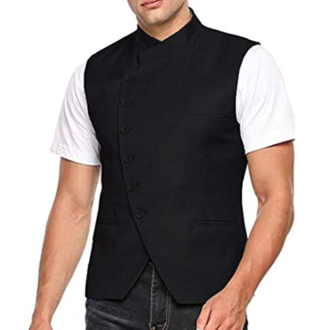 WINTAGE Mens Poly Cotton Bandhgala Party Nehru Vest Waistcoat Two Colors