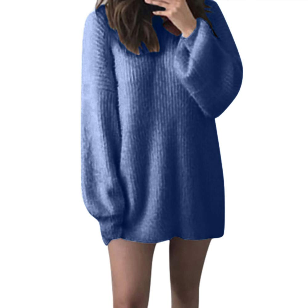 Women Sweaters Women's Cashmere Oversized Knitted O-Neck Warm Wool Pullover Long Sweater Dresses Top