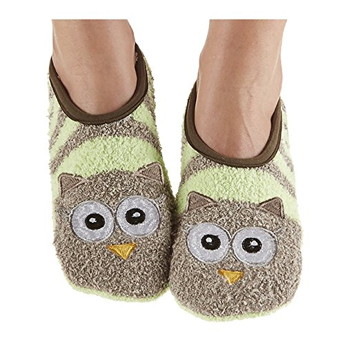 Snoozies Womens Fuzzy Animal Mary Jane Owl Socks