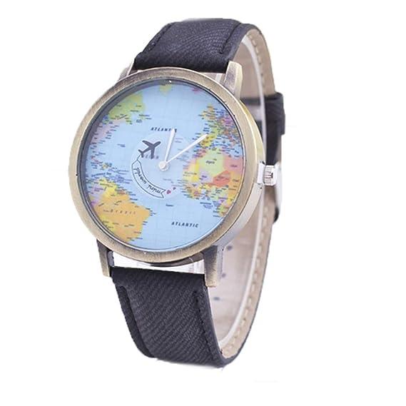 ndier Reloj Unisex Estilo Vintage Tarjeta avión Reloj adjustabble Pulsera Piel analógica Reloj de Pulsera de