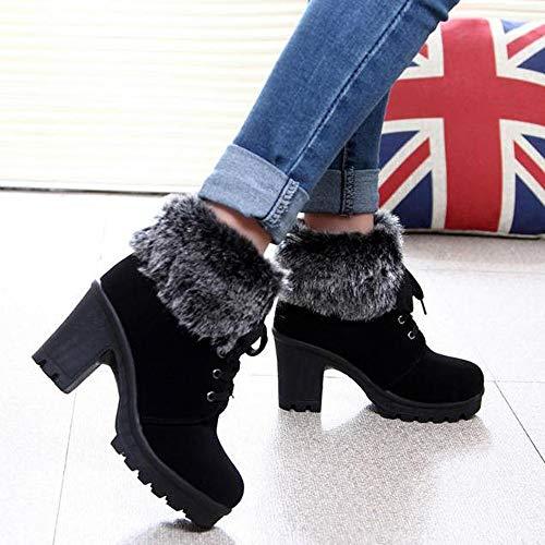 Cómodas Tacon Zapatos Exteriores Botas Mujer Invierno Para Invierno Señoras Botines De Amlaiworld Negro Nieve Goma Cuña Calientes BW0AWOq